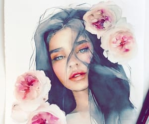 paint, water colors, and woman image