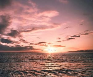 sea, wallpaper, and sunset image