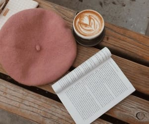 beret, book, and cafe image