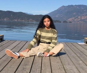 girl, fashion, and lake image