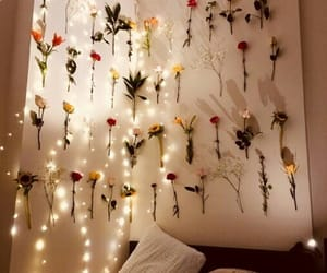 bedroom, flowers, and light image