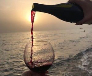 beach, sea, and wine image