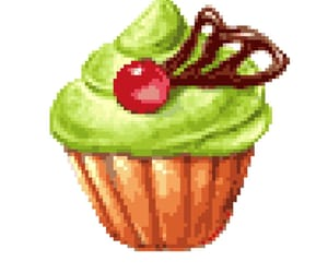 cupcake, strawberry, and matcha image
