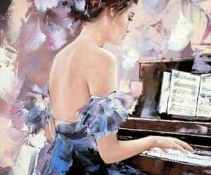 girl, art, and music image