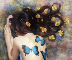 butterfly, hair, and flowers image