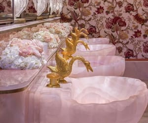 pink, bathroom, and gold image