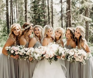 beautiful, flowers, and bridesmaids image