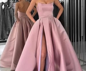 dress, prom dress, and pink image