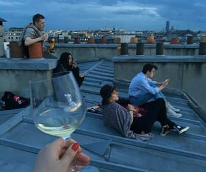 friends, wine, and grunge image