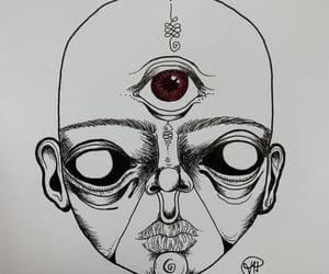 drawing, face, and third eye image
