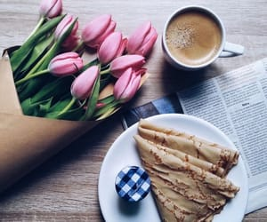coffee, spring, and tulips image