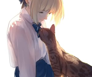 anime, beautiful, and cat image