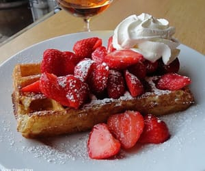 strawberries, waffles, and yummy image