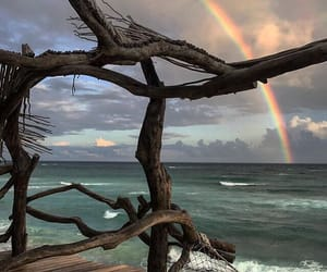 rainbow, beach, and place image