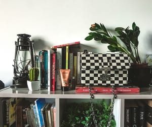 books, decor, and plant image