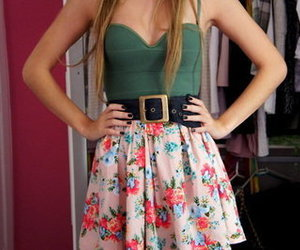 dress, floral skirt, and fashion 101 image