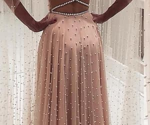 dress, gown, and pearls image