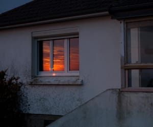 sunset, sky, and house image