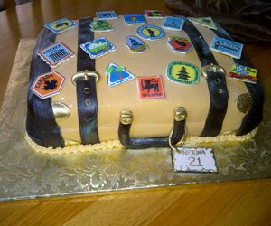 cake, suitcase, and vintage image