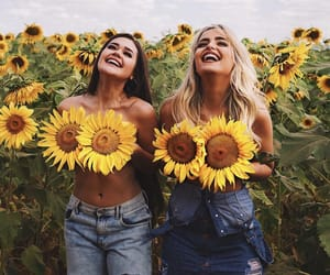 friendship, girls, and sunflower image