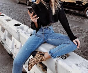 animal print, boots, and denim image