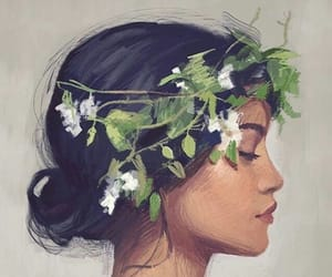 girl, art, and flowers image