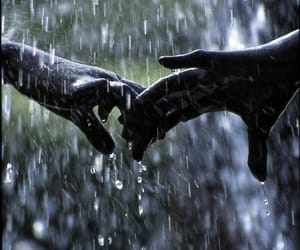 love, rain, and hands image