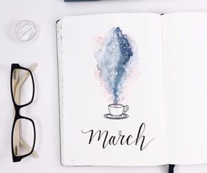 coffee, journal, and planing image
