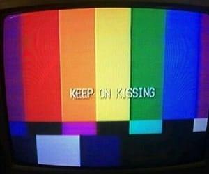 tv, rainbow, and kiss image