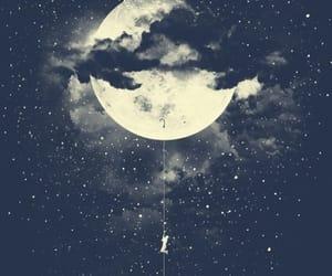 art, moon, and moon drawing image