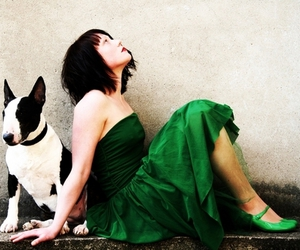 bullterrier, green, and woman image