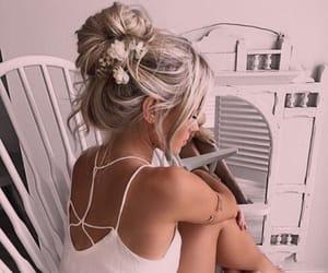 blush, boho, and hairstyles image
