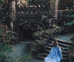blue dress, castle, and enchanted image