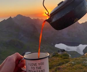 mountains, travel, and coffee image