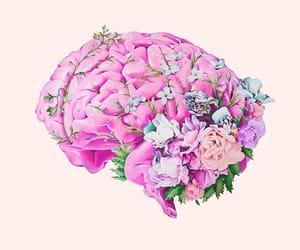 brain, flowers, and art image