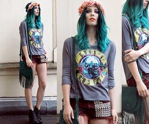 blue hair, Guns N Roses, and hair image