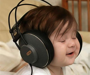 baby, music, and headphones image