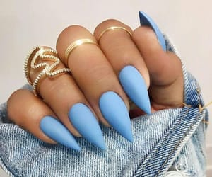 nails, baby blue, and stiletto image