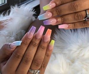 nails, rainbow, and full set image