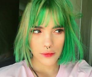 colored hair, green, and green hair image