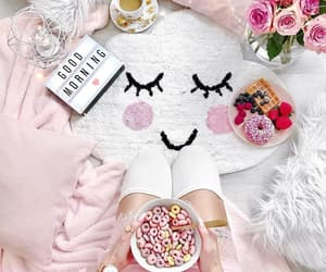 breakfast, pink, and roses image