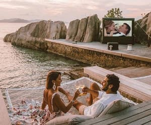 beach, champagne, and couple image