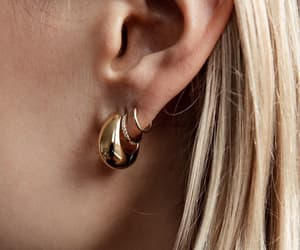 earrings, hoops, and gold image