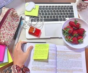 book, desk, and food image