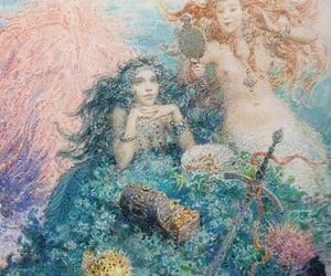 art, drawing, and mermaids image