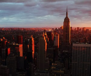 city, new york, and sunset image