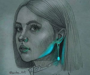 art, blue, and pen image