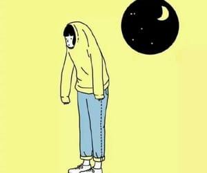 moon, yellow, and art image