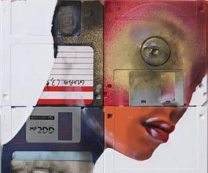 art, floppy disk, and eye image