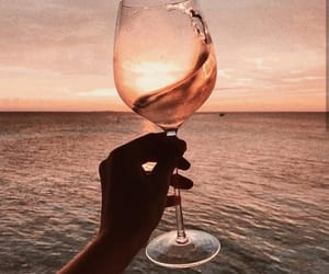 wine, drink, and ocean image
